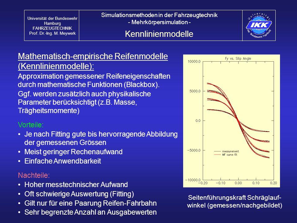 Mathematisch-empirische Reifenmodelle (Kennlinienmodelle): Approximation gemessener Reifeneigenschaften durch mathematische Funktionen (Blackbox). Ggf