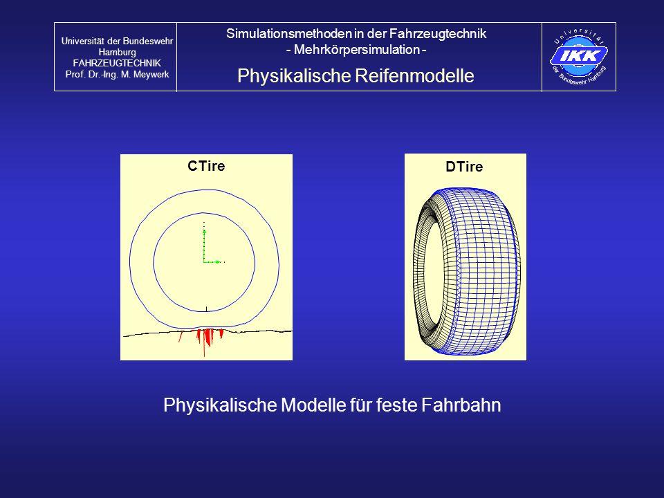 CTire DTire Physikalische Modelle für feste Fahrbahn Physikalische Reifenmodelle Universität der Bundeswehr Hamburg FAHRZEUGTECHNIK Prof. Dr.-Ing. M.
