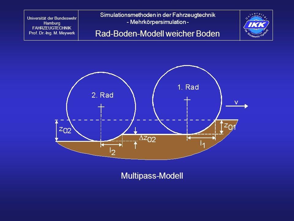 Multipass-Modell Rad-Boden-Modell weicher Boden Universität der Bundeswehr Hamburg FAHRZEUGTECHNIK Prof. Dr.-Ing. M. Meywerk Simulationsmethoden in de
