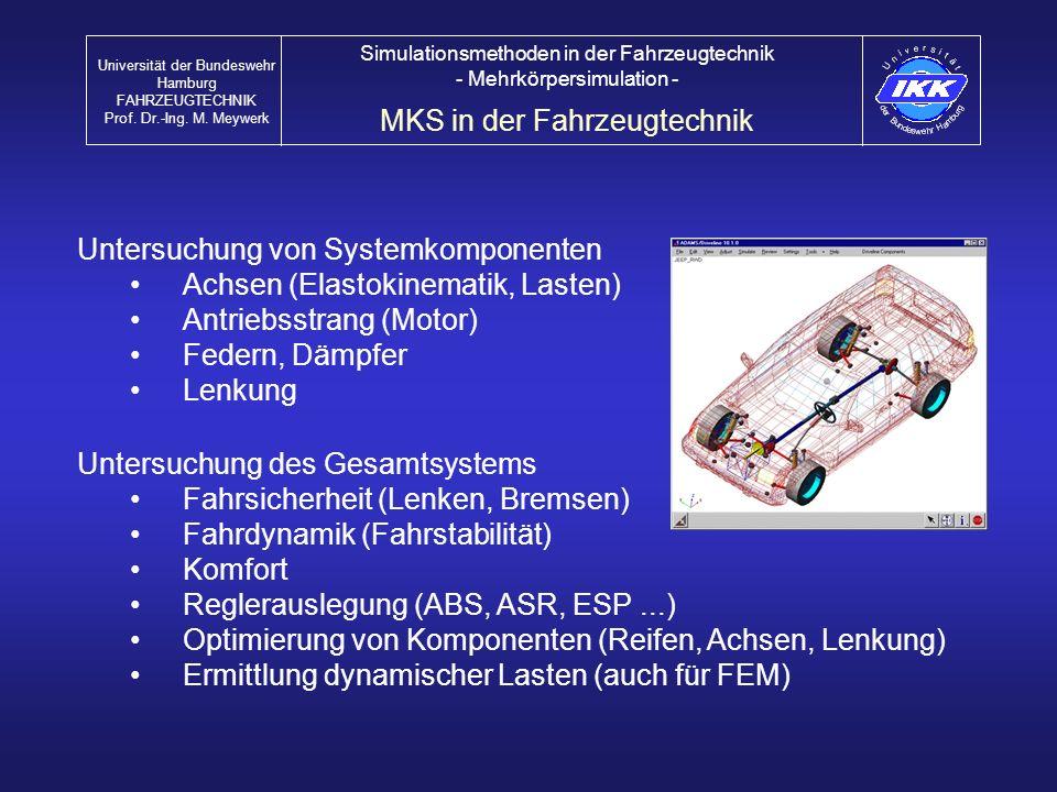 Untersuchung des Gesamtsystems Fahrsicherheit (Lenken, Bremsen) Fahrdynamik (Fahrstabilität) Komfort Reglerauslegung (ABS, ASR, ESP...) Optimierung vo