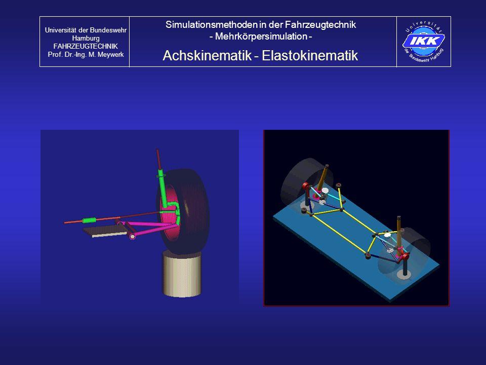 Achskinematik - Elastokinematik Universität der Bundeswehr Hamburg FAHRZEUGTECHNIK Prof. Dr.-Ing. M. Meywerk Simulationsmethoden in der Fahrzeugtechni