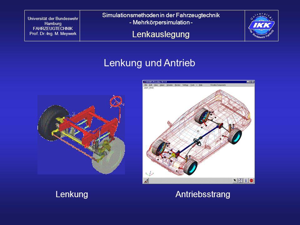 Lenkung und Antrieb AntriebsstrangLenkung Lenkauslegung Universität der Bundeswehr Hamburg FAHRZEUGTECHNIK Prof. Dr.-Ing. M. Meywerk Simulationsmethod