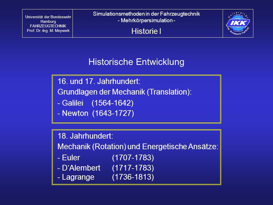 Untersuchung des Gesamtsystems Fahrsicherheit (Lenken, Bremsen) Fahrdynamik (Fahrstabilität) Komfort Reglerauslegung (ABS, ASR, ESP...) Optimierung von Komponenten (Reifen, Achsen, Lenkung) Ermittlung dynamischer Lasten (auch für FEM) Untersuchung von Systemkomponenten Achsen (Elastokinematik, Lasten) Antriebsstrang (Motor) Federn, Dämpfer Lenkung MKS in der Fahrzeugtechnik Universität der Bundeswehr Hamburg FAHRZEUGTECHNIK Prof.