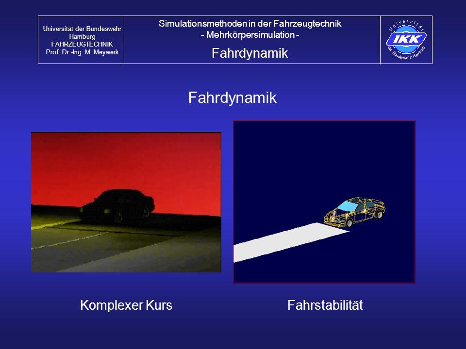 Fahrdynamik FahrstabilitätKomplexer Kurs Fahrdynamik Universität der Bundeswehr Hamburg FAHRZEUGTECHNIK Prof. Dr.-Ing. M. Meywerk Simulationsmethoden