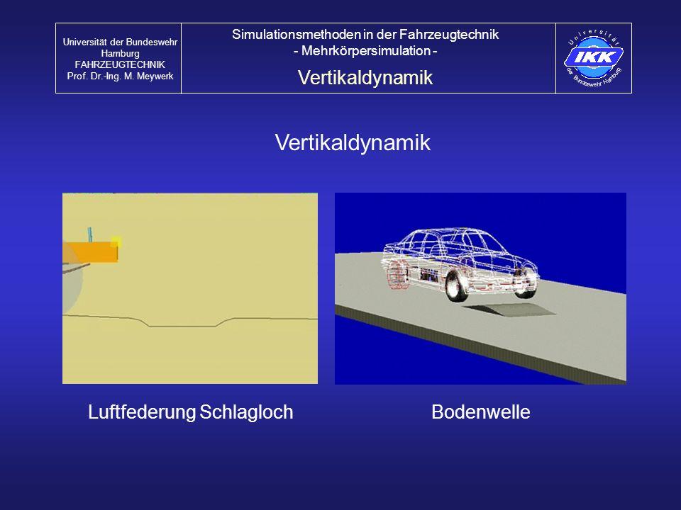Vertikaldynamik Luftfederung SchlaglochBodenwelle Vertikaldynamik Universität der Bundeswehr Hamburg FAHRZEUGTECHNIK Prof. Dr.-Ing. M. Meywerk Simulat