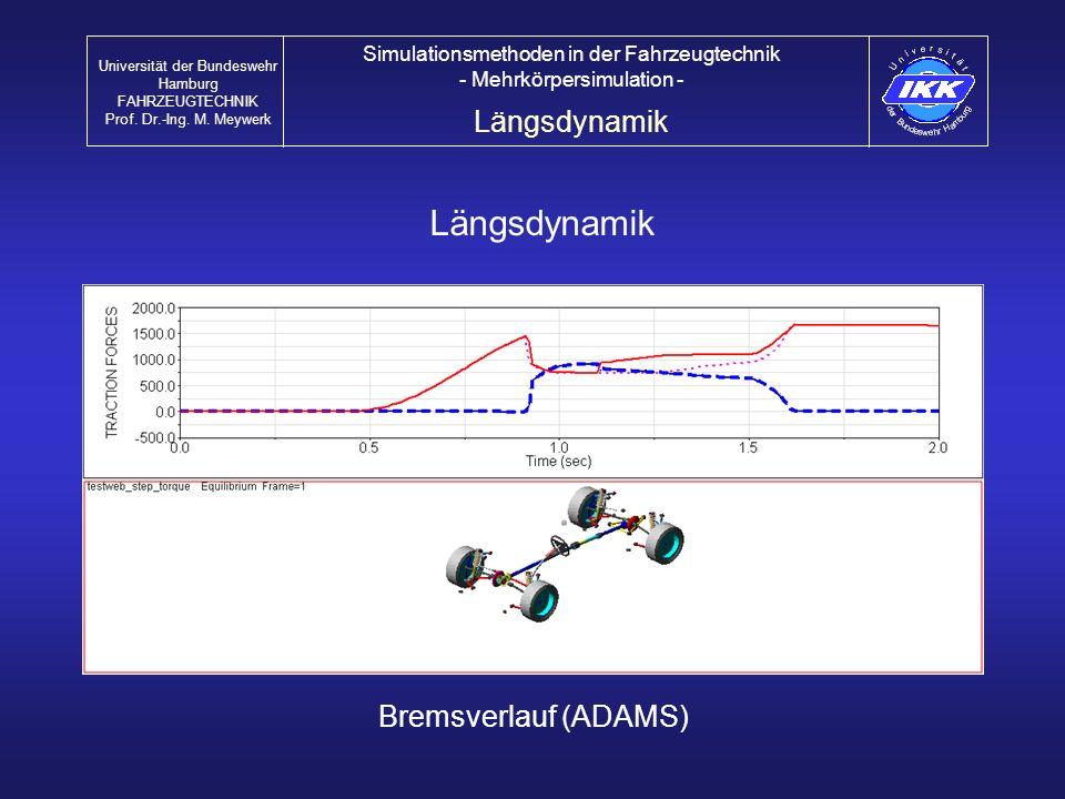 Längsdynamik Bremsverlauf (ADAMS) Längsdynamik Universität der Bundeswehr Hamburg FAHRZEUGTECHNIK Prof. Dr.-Ing. M. Meywerk Simulationsmethoden in der