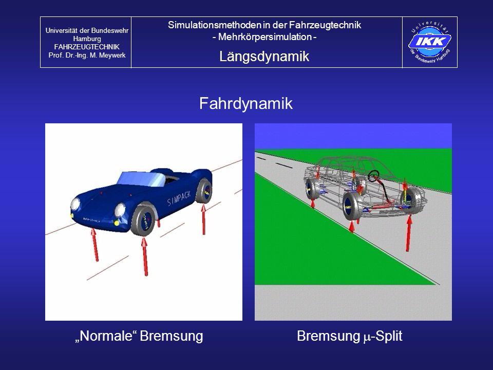 Fahrdynamik Bremsung -Split Normale Bremsung Längsdynamik Universität der Bundeswehr Hamburg FAHRZEUGTECHNIK Prof. Dr.-Ing. M. Meywerk Simulationsmeth