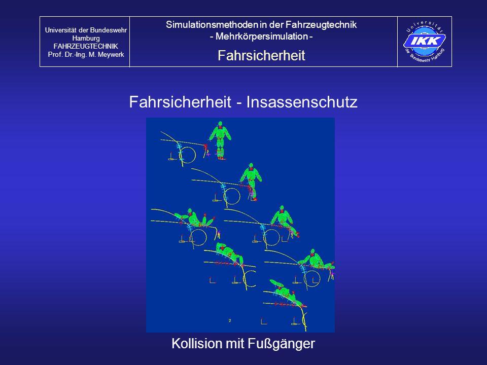 Fahrsicherheit - Insassenschutz Kollision mit Fußgänger Fahrsicherheit Universität der Bundeswehr Hamburg FAHRZEUGTECHNIK Prof. Dr.-Ing. M. Meywerk Si