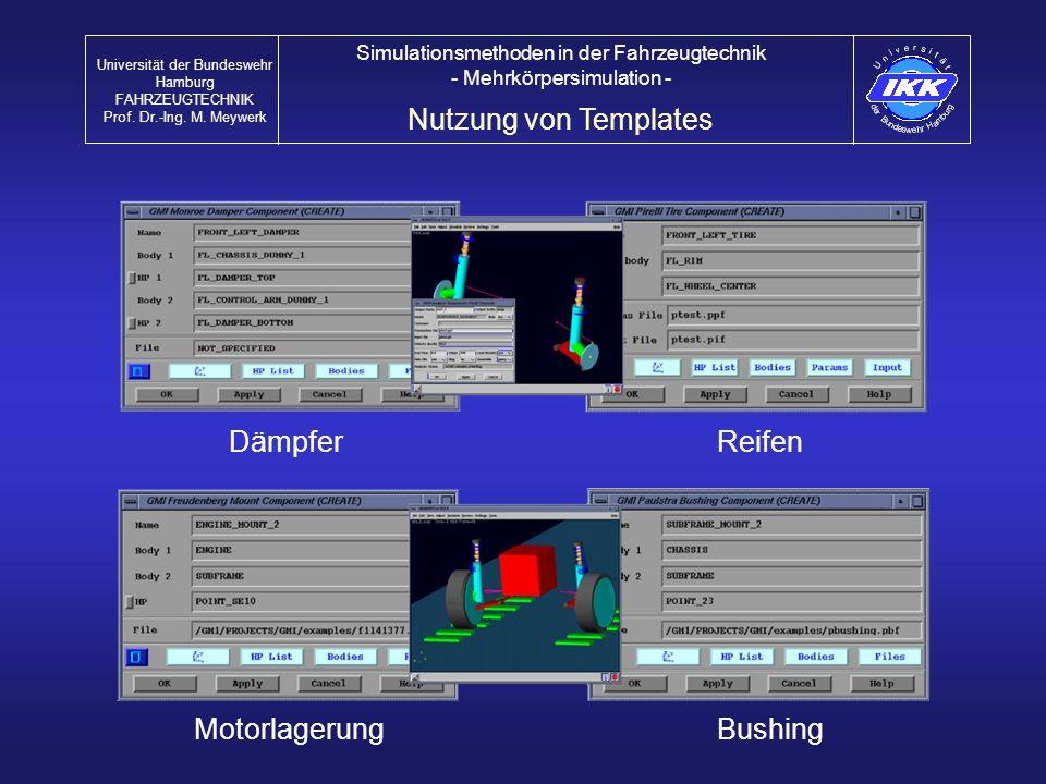 Dämpfer Nutzung von Templates Universität der Bundeswehr Hamburg FAHRZEUGTECHNIK Prof. Dr.-Ing. M. Meywerk Simulationsmethoden in der Fahrzeugtechnik