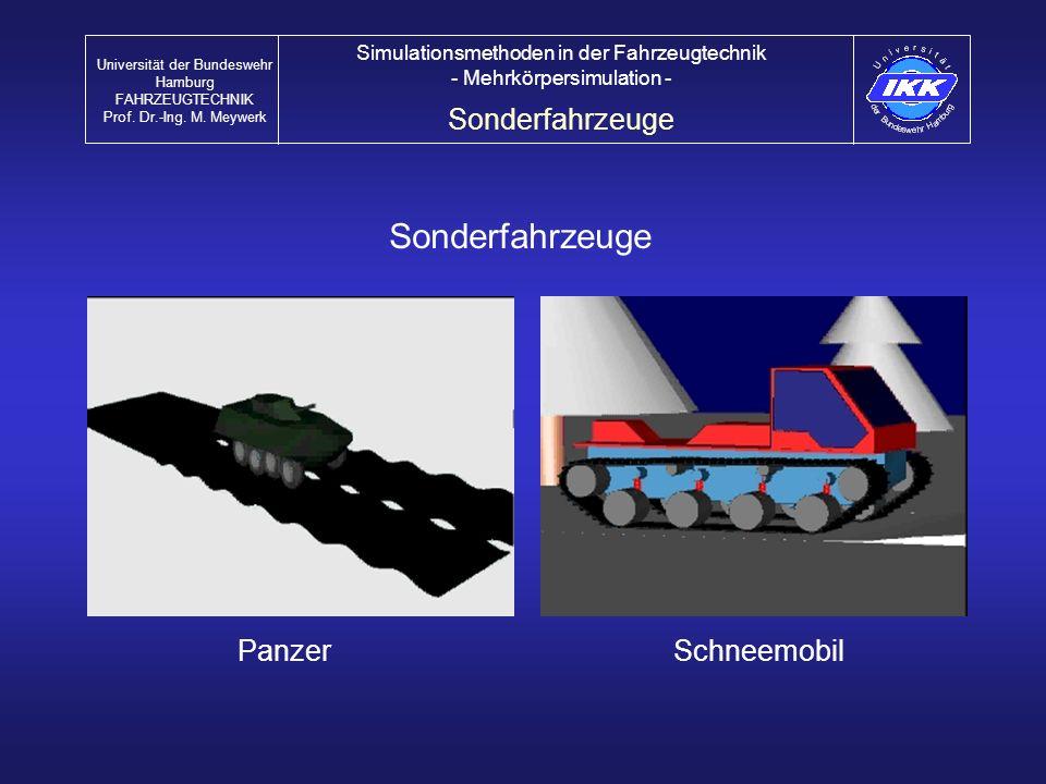 Sonderfahrzeuge PanzerSchneemobil Sonderfahrzeuge Universität der Bundeswehr Hamburg FAHRZEUGTECHNIK Prof. Dr.-Ing. M. Meywerk Simulationsmethoden in