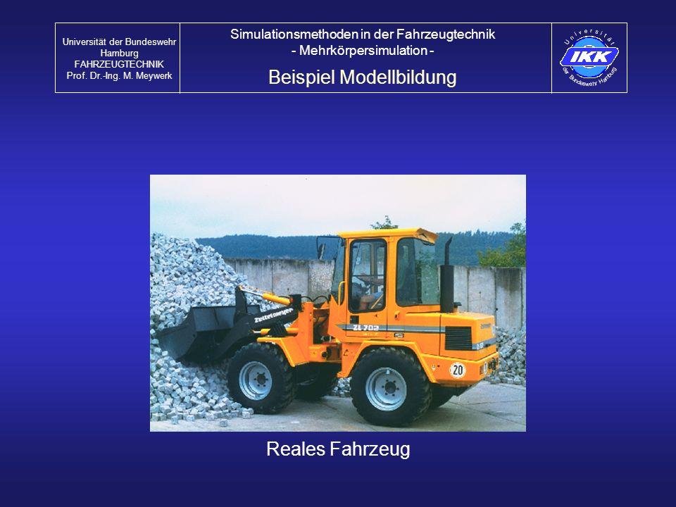 Reales Fahrzeug Beispiel Modellbildung Universität der Bundeswehr Hamburg FAHRZEUGTECHNIK Prof. Dr.-Ing. M. Meywerk Simulationsmethoden in der Fahrzeu