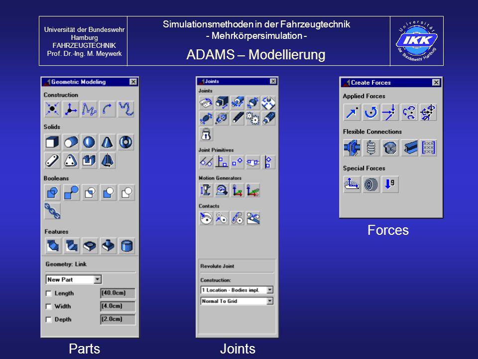 ADAMS – Modellierung Universität der Bundeswehr Hamburg FAHRZEUGTECHNIK Prof. Dr.-Ing. M. Meywerk Simulationsmethoden in der Fahrzeugtechnik - Mehrkör