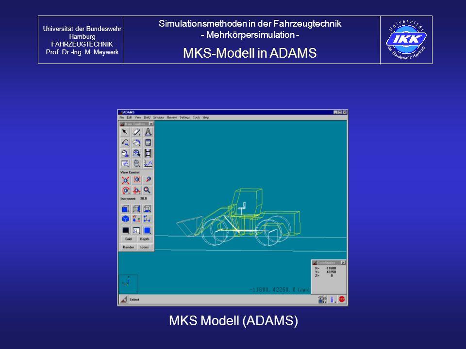 MKS Modell (ADAMS) MKS-Modell in ADAMS Universität der Bundeswehr Hamburg FAHRZEUGTECHNIK Prof. Dr.-Ing. M. Meywerk Simulationsmethoden in der Fahrzeu