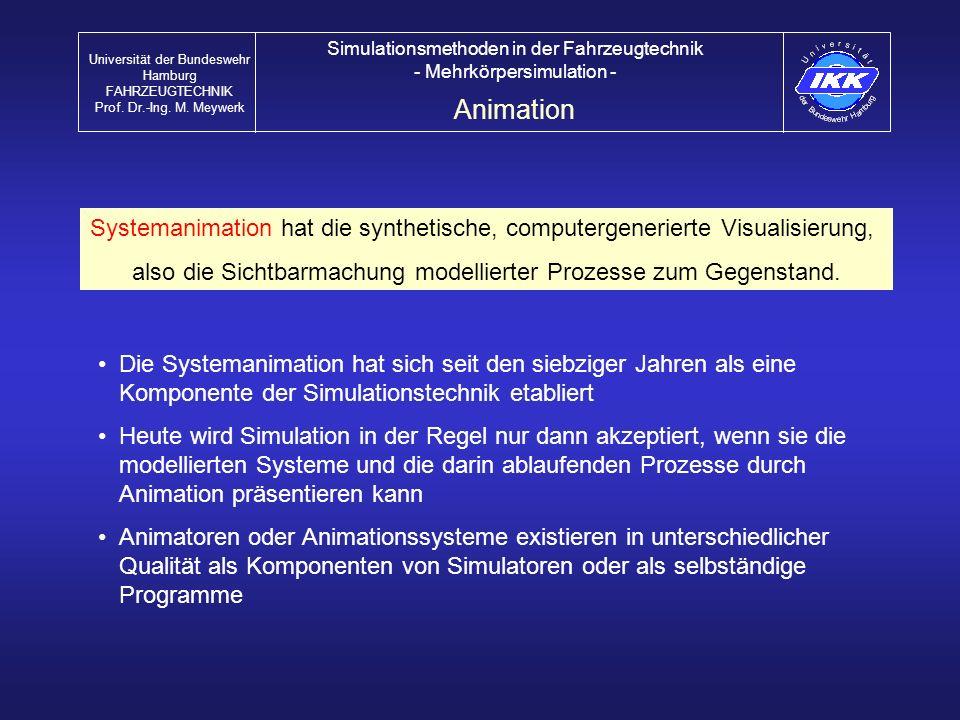 Animation Universität der Bundeswehr Hamburg FAHRZEUGTECHNIK Prof. Dr.-Ing. M. Meywerk Simulationsmethoden in der Fahrzeugtechnik - Mehrkörpersimulati