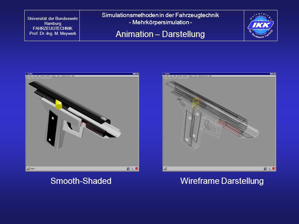 Animation – Darstellung Universität der Bundeswehr Hamburg FAHRZEUGTECHNIK Prof. Dr.-Ing. M. Meywerk Simulationsmethoden in der Fahrzeugtechnik - Mehr