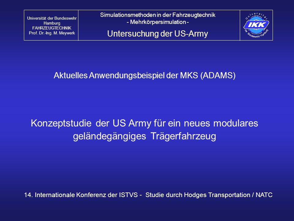 Universität der Bundeswehr Hamburg FAHRZEUGTECHNIK Prof. Dr.-Ing. M. Meywerk Simulationsmethoden in der Fahrzeugtechnik - Mehrkörpersimulation - Unter