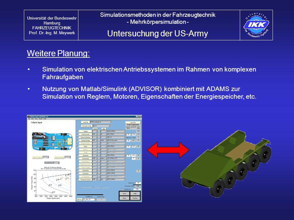 Simulation von elektrischen Antriebssystemen im Rahmen von komplexen Fahraufgaben Nutzung von Matlab/Simulink (ADVISOR) kombiniert mit ADAMS zur Simul