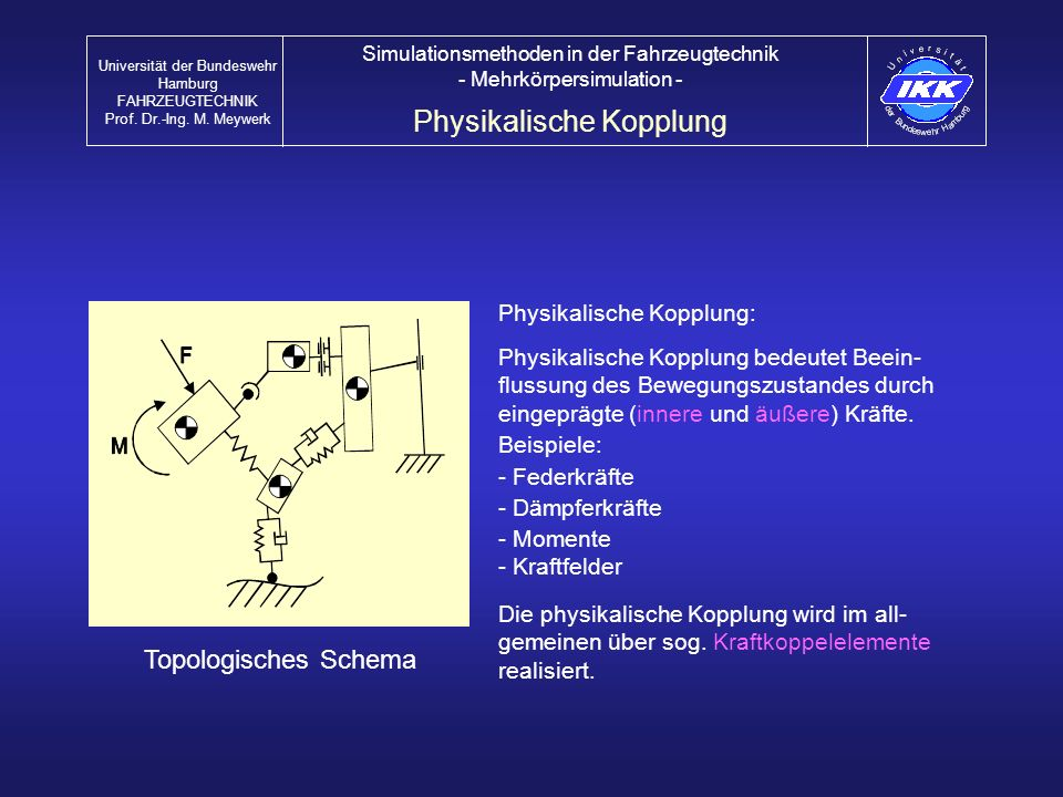 Physikalische Kopplung: Physikalische Kopplung bedeutet Beein- flussung des Bewegungszustandes durch eingeprägte (innere und äußere) Kräfte. Beispiele