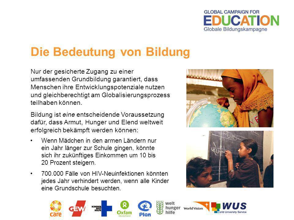 Nach Berechnungen der Globalen Bildungskampagne (GBK) sind jährlich 16 Milliarden US-Dollar Aufwendungen im Bereich Bildungszusammenarbeit seitens der Geberländer notwendig.
