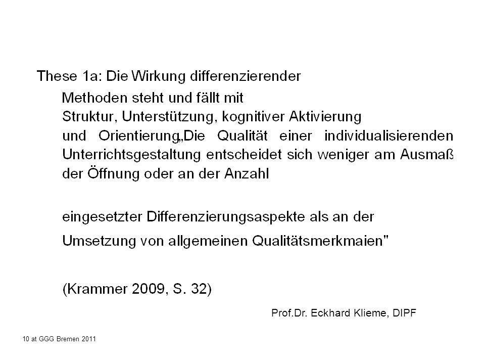 Prof.Dr. Eckhard Klieme, DIPF 10 at GGG Bremen 2011