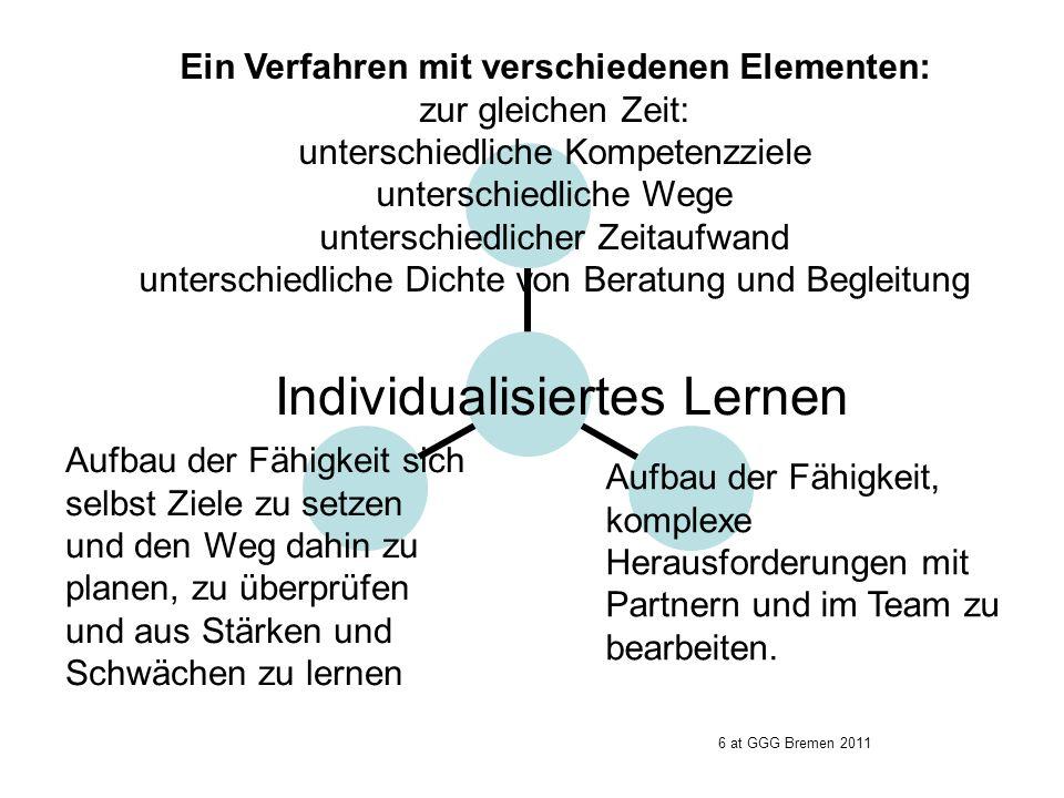 Individualisiertes Lernen Ein Verfahren mit verschiedenen Elementen: zur gleichen Zeit: unterschiedliche Kompetenzziele unterschiedliche Wege untersch
