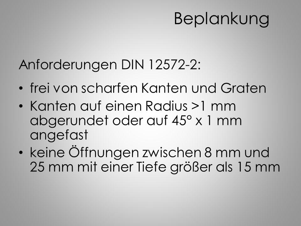 Beplankung Anforderungen DIN 12572-2: frei von scharfen Kanten und Graten Kanten auf einen Radius >1 mm abgerundet oder auf 45° x 1 mm angefast keine