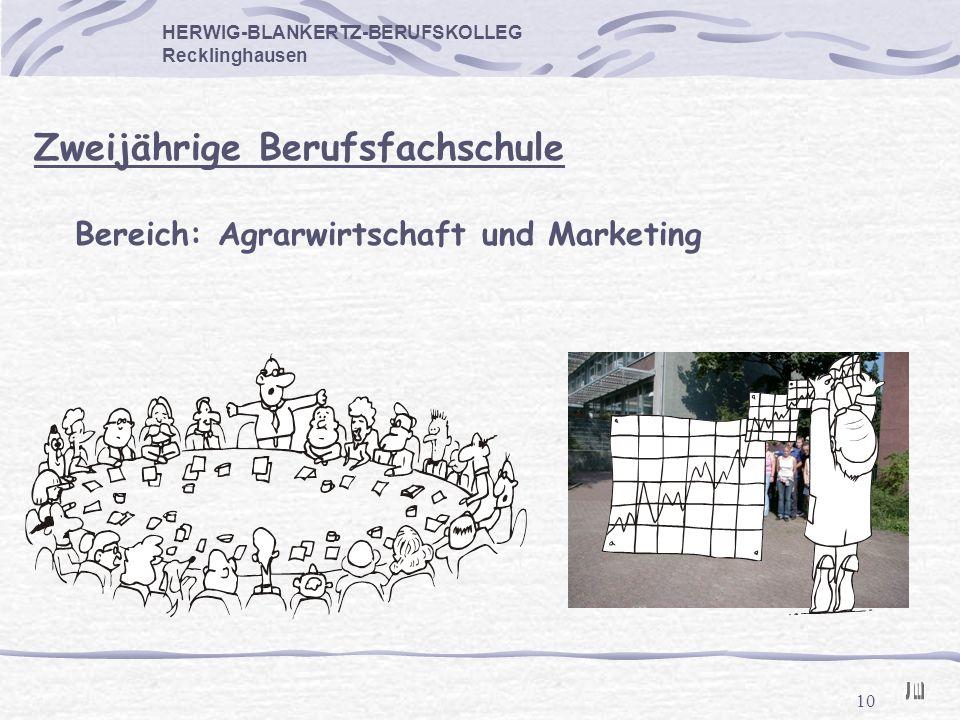 10 HERWIG-BLANKERTZ-BERUFSKOLLEG Recklinghausen Zweijährige Berufsfachschule Bereich: Agrarwirtschaft und Marketing