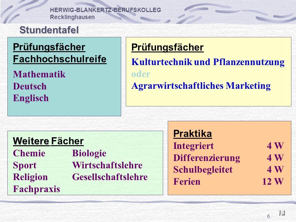 6 HERWIG-BLANKERTZ-BERUFSKOLLEG Recklinghausen Stundentafel Mathematik Deutsch Englisch Prüfungsfächer Fachhochschulreife Prüfungsfächer Kulturtechnik