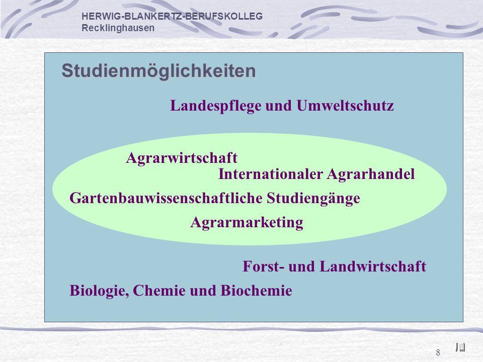 8 HERWIG-BLANKERTZ-BERUFSKOLLEG Recklinghausen Studienmöglichkeiten Gartenbauwissenschaftliche Studiengänge Agrarwirtschaft Internationaler Agrarhande