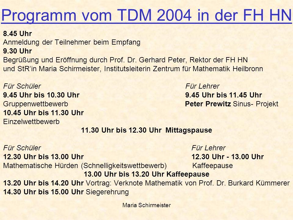 Maria Schirmeister Programm vom TDM 2004 in der FH HN 8.45 Uhr Anmeldung der Teilnehmer beim Empfang 9.30 Uhr Begrüßung und Eröffnung durch Prof. Dr.