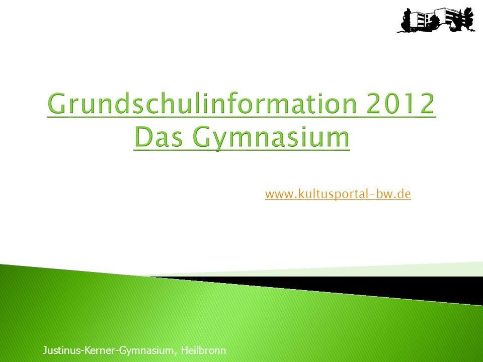 www.kultusportal-bw.de Justinus-Kerner-Gymnasium, Heilbronn Grundschulinformation 2012 Das Gymnasium