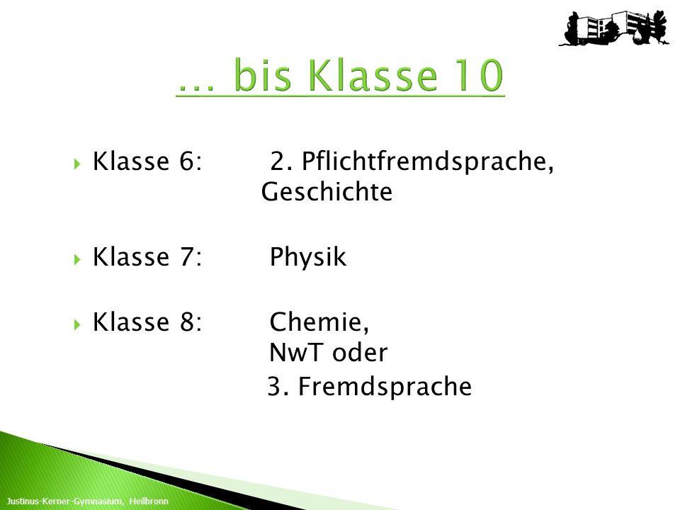 Klasse 6:2. Pflichtfremdsprache, Geschichte Klasse 7:Physik Klasse 8:Chemie, NwT oder 3. Fremdsprache Justinus-Kerner-Gymnasium, Heilbronn … bis Klass