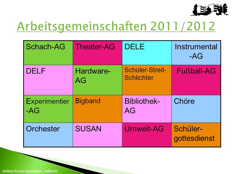 Schach-AGTheater-AGDELEInstrumental -AG DELFHardware- AG Schüler-Streit- Schlichter Fußball-AG E xperimentier -AG Bigband Bibliothek- AG Chöre Orchest