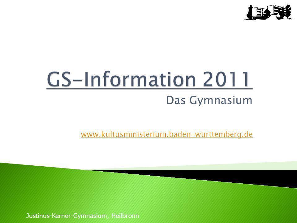 Das Gymnasium www.kultusministerium.baden-württemberg.de Justinus-Kerner-Gymnasium, Heilbronn