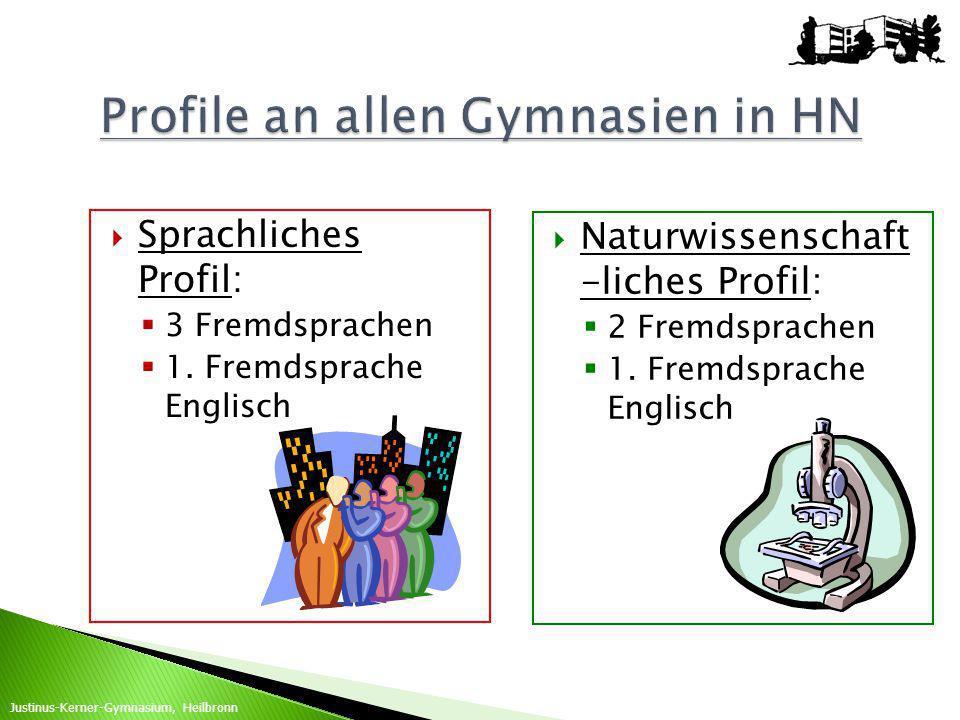 Sprachliches Profil: 3 Fremdsprachen 1. Fremdsprache Englisch Naturwissenschaft -liches Profil: 2 Fremdsprachen 1. Fremdsprache Englisch Justinus-Kern