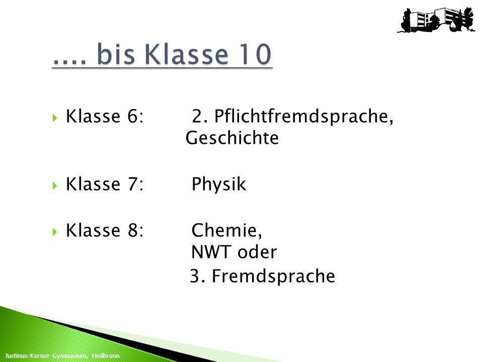 Klasse 6:2. Pflichtfremdsprache, Geschichte Klasse 7:Physik Klasse 8:Chemie, NWT oder 3. Fremdsprache Justinus-Kerner-Gymnasium, Heilbronn