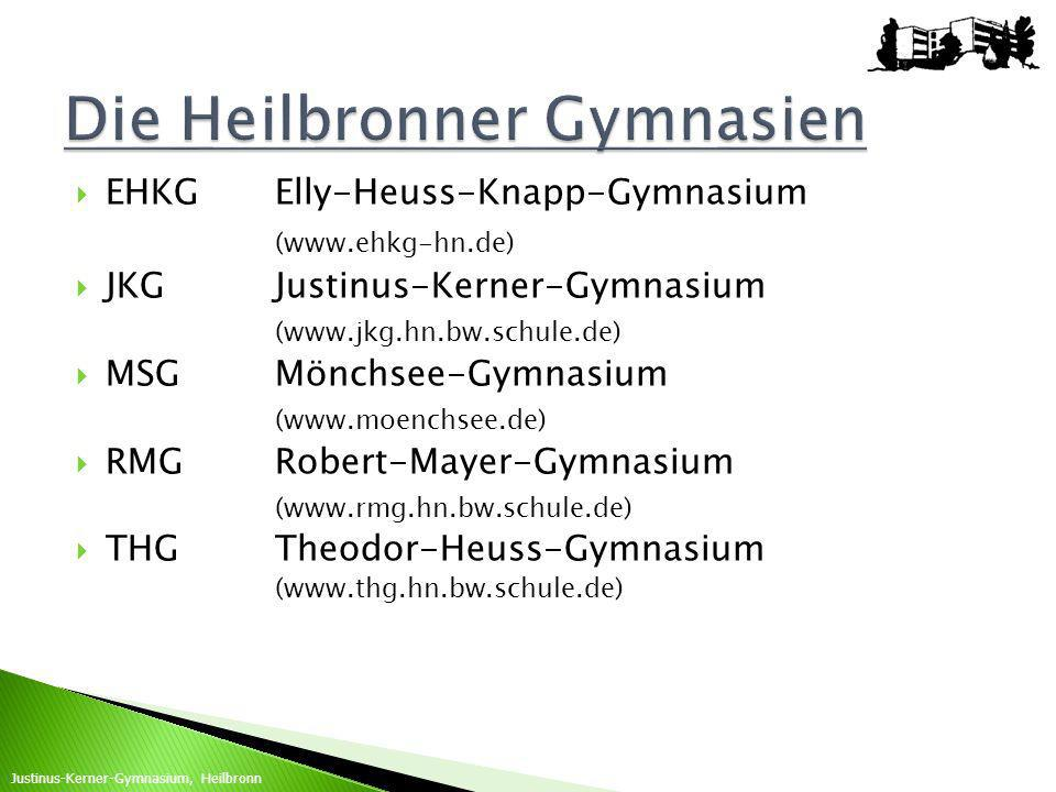EHKGElly-Heuss-Knapp-Gymnasium (www.ehkg-hn.de) JKGJustinus-Kerner-Gymnasium (www.jkg.hn.bw.schule.de) MSGMönchsee-Gymnasium (www.moenchsee.de) RMGRob