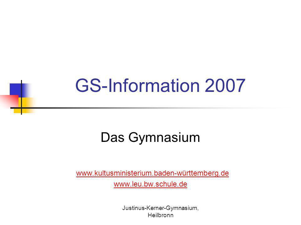 Justinus-Kerner-Gymnasium, Heilbronn GS-Information 2007 Das Gymnasium www.kultusministerium.baden-württemberg.de www.leu.bw.schule.de