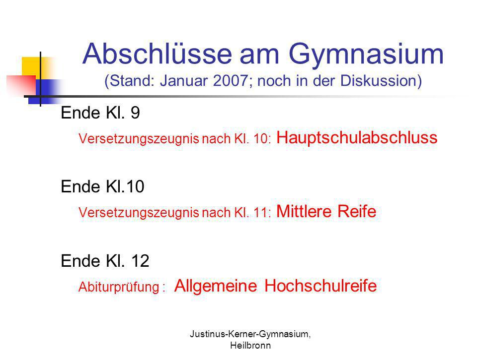 Justinus-Kerner-Gymnasium, Heilbronn Abschlüsse am Gymnasium (Stand: Januar 2007; noch in der Diskussion) Ende Kl. 9 Versetzungszeugnis nach Kl. 10: H