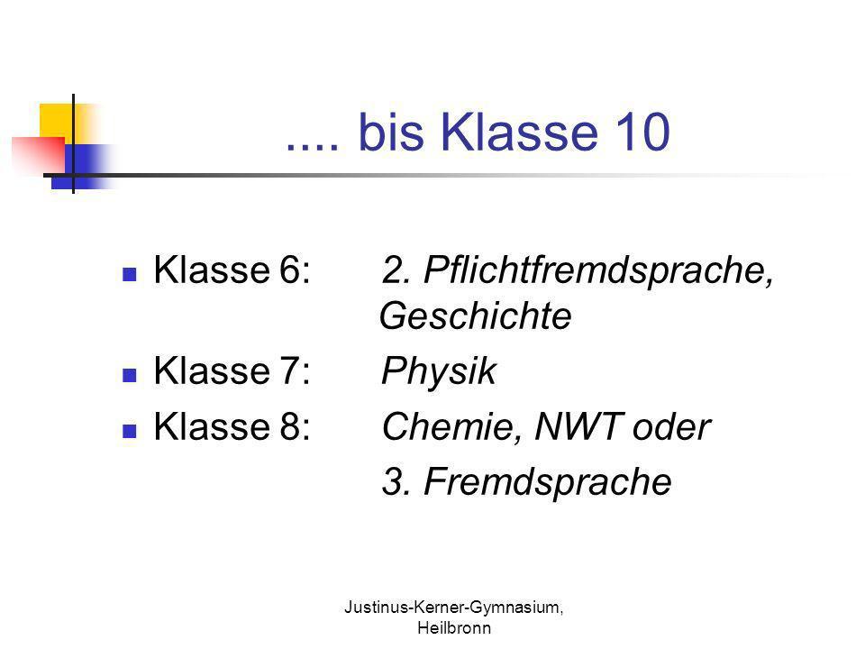 Justinus-Kerner-Gymnasium, Heilbronn.... bis Klasse 10 Klasse 6:2. Pflichtfremdsprache, Geschichte Klasse 7:Physik Klasse 8:Chemie, NWT oder 3. Fremds