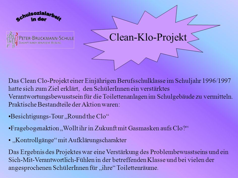 Das Clean Clo-Projekt einer Einjährigen Berufsschulklasse im Schuljahr 1996/1997 hatte sich zum Ziel erklärt, den SchülerInnen ein verstärktes Verantw
