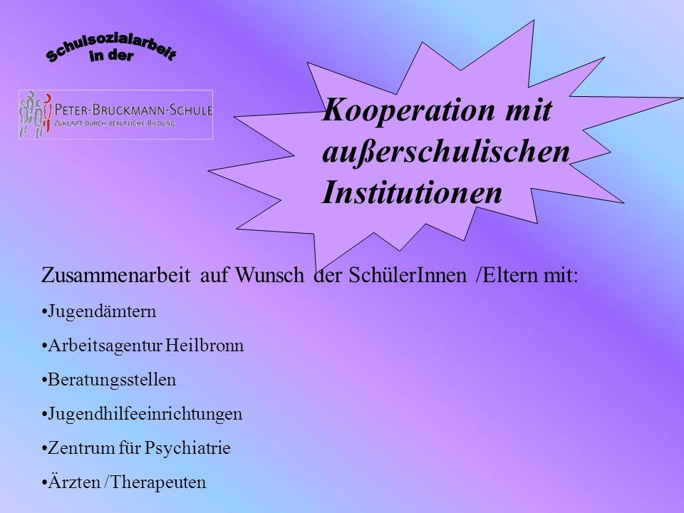 Zusammenarbeit auf Wunsch der SchülerInnen /Eltern mit: Jugendämtern Arbeitsagentur Heilbronn Beratungsstellen Jugendhilfeeinrichtungen Zentrum für Ps