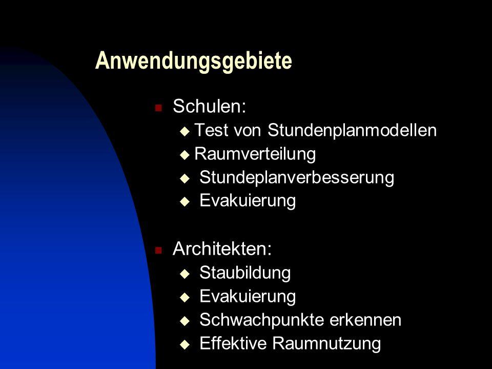 Anwendungsgebiete Schulen: Test von Stundenplanmodellen Raumverteilung Stundeplanverbesserung Evakuierung Architekten: Staubildung Evakuierung Schwachpunkte erkennen Effektive Raumnutzung