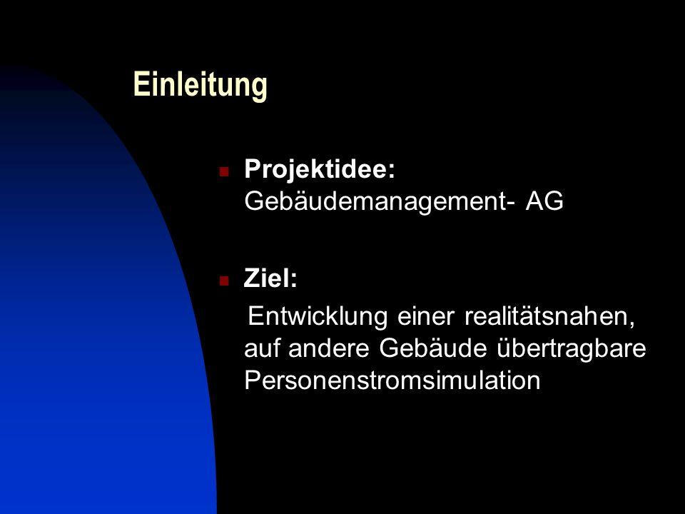 Einleitung Projektidee: Gebäudemanagement- AG Ziel: Entwicklung einer realitätsnahen, auf andere Gebäude übertragbare Personenstromsimulation
