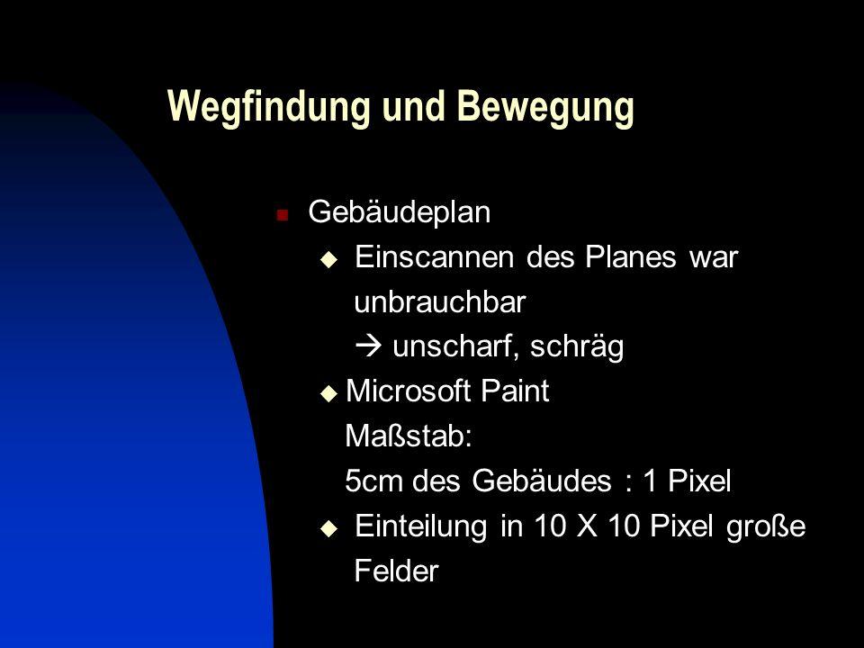 Wegfindung und Bewegung Gebäudeplan Einscannen des Planes war unbrauchbar unscharf, schräg Microsoft Paint Maßstab: 5cm des Gebäudes : 1 Pixel Einteilung in 10 X 10 Pixel große Felder
