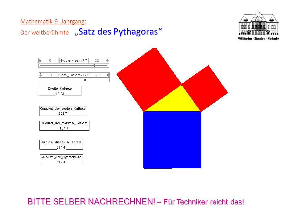 Satz des Pythagoras Mathematik 9. Jahrgang: Der weltberühmteSatz des Pythagoras BITTE SELBER NACHRECHNEN! – Für Techniker reicht das!
