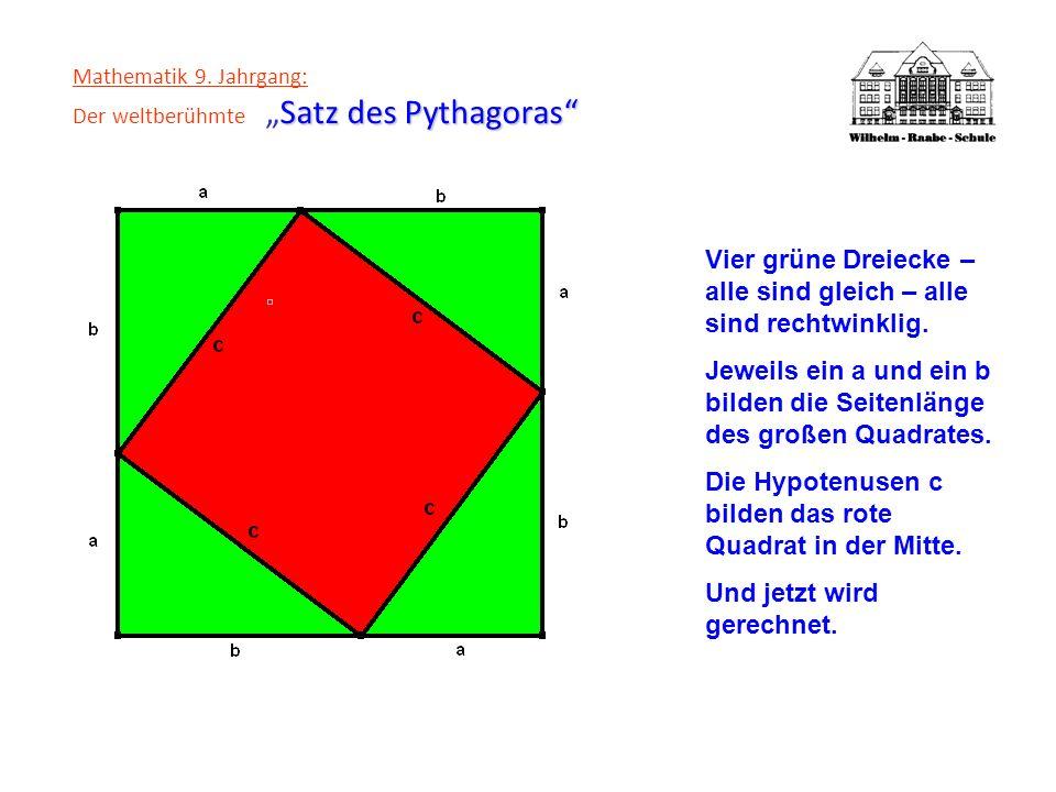 Satz des Pythagoras Mathematik 9. Jahrgang: Der weltberühmteSatz des Pythagoras Vier grüne Dreiecke – alle sind gleich – alle sind rechtwinklig. Jewei