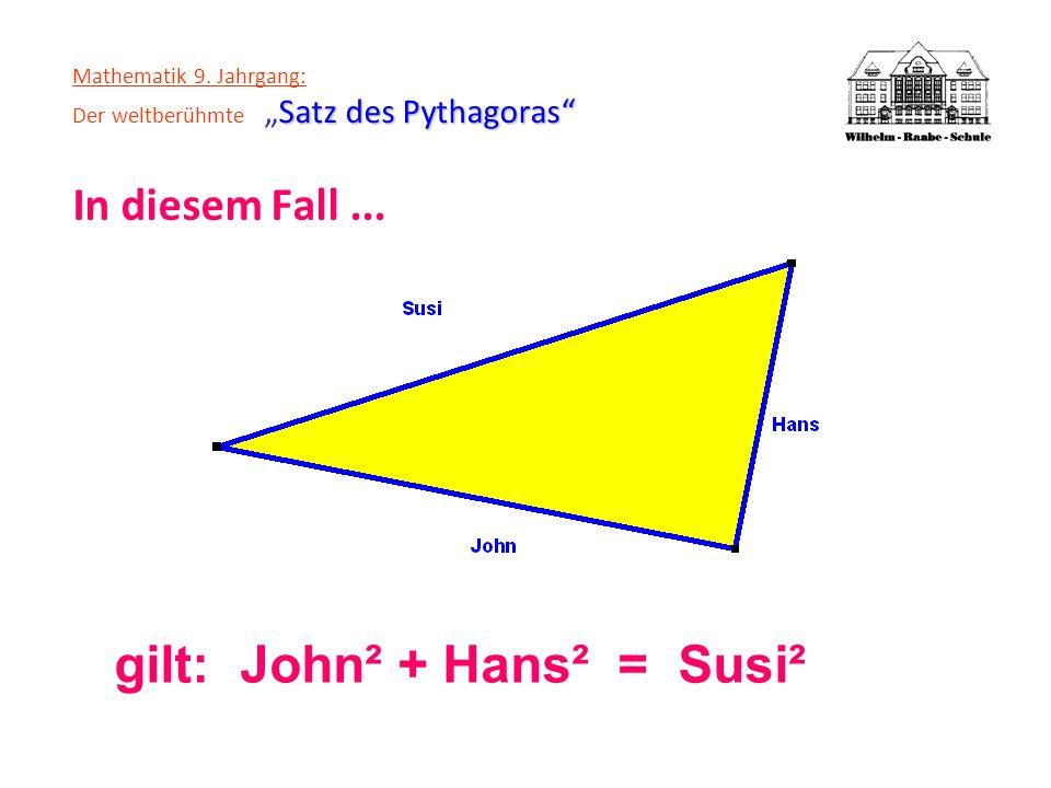 Satz des Pythagoras Mathematik 9. Jahrgang: Der weltberühmteSatz des Pythagoras In diesem Fall... gilt: John² + Hans² = Susi²