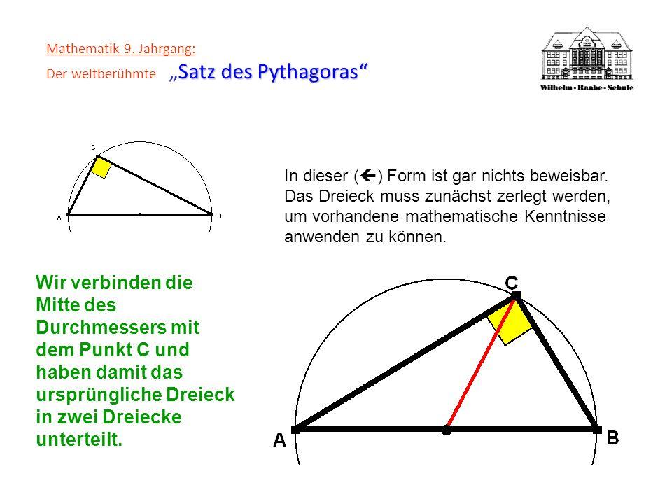 Satz des Pythagoras Mathematik 9. Jahrgang: Der weltberühmteSatz des Pythagoras In dieser ( ) Form ist gar nichts beweisbar. Das Dreieck muss zunächst