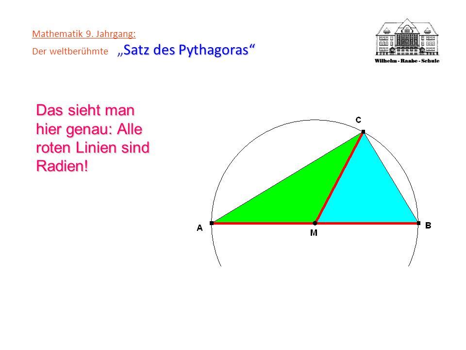 Satz des Pythagoras Mathematik 9. Jahrgang: Der weltberühmteSatz des Pythagoras Das sieht man hier genau: Alle roten Linien sind Radien!